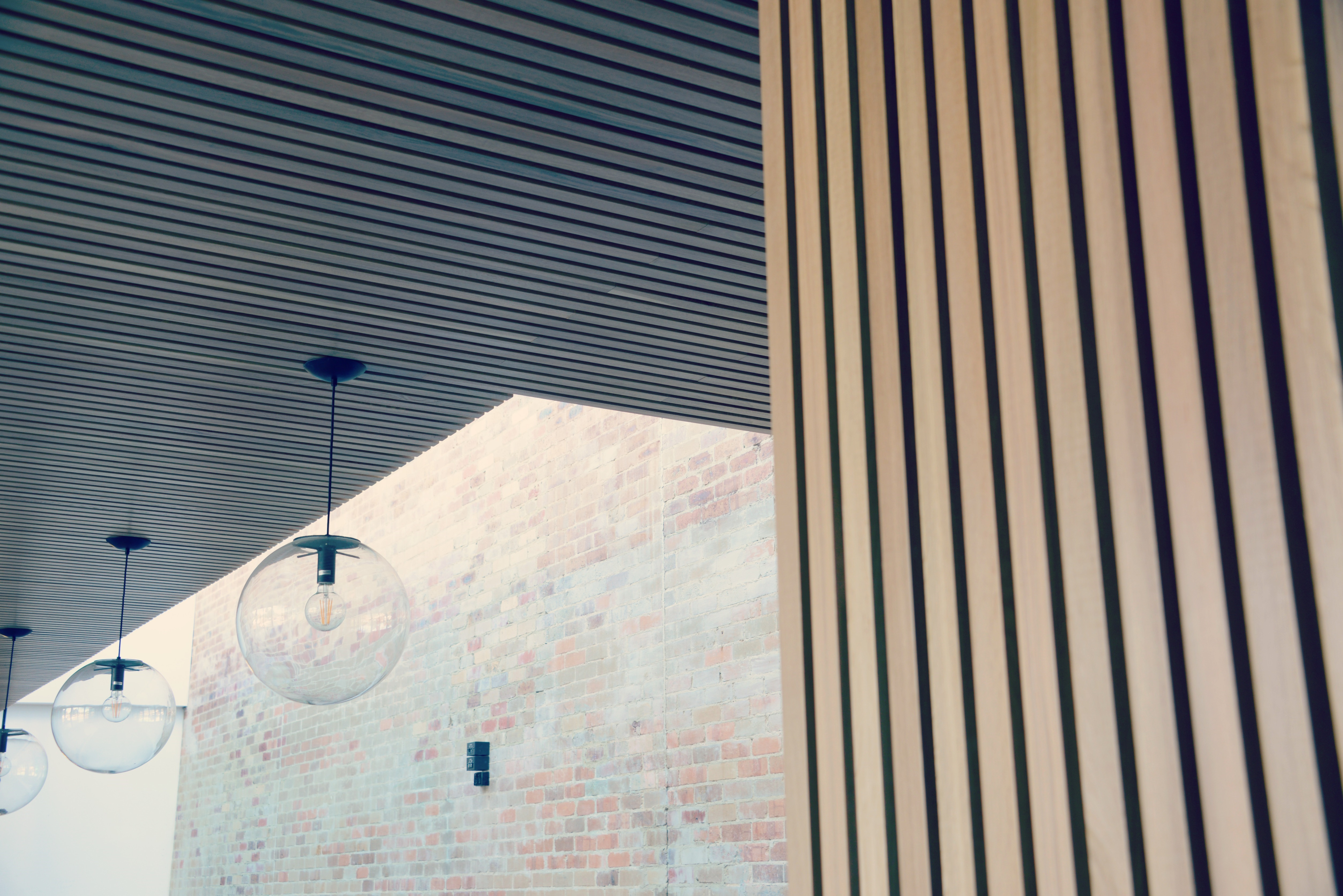 Detail of lighting behind the bar in the forecourt