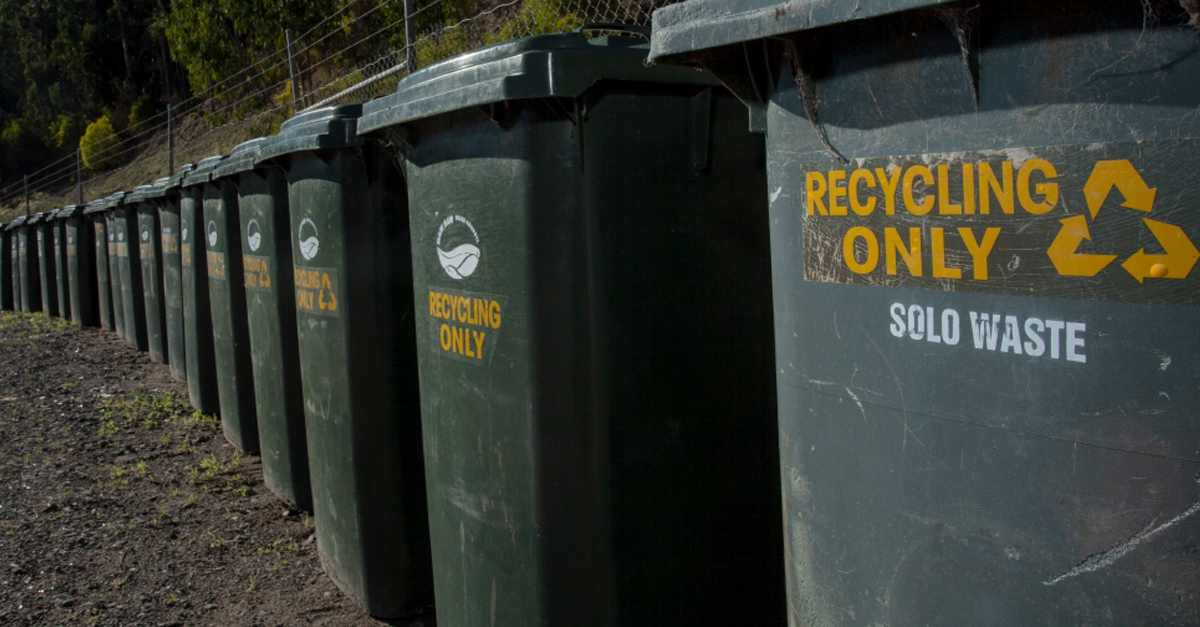Photo of a row of green recycling bins