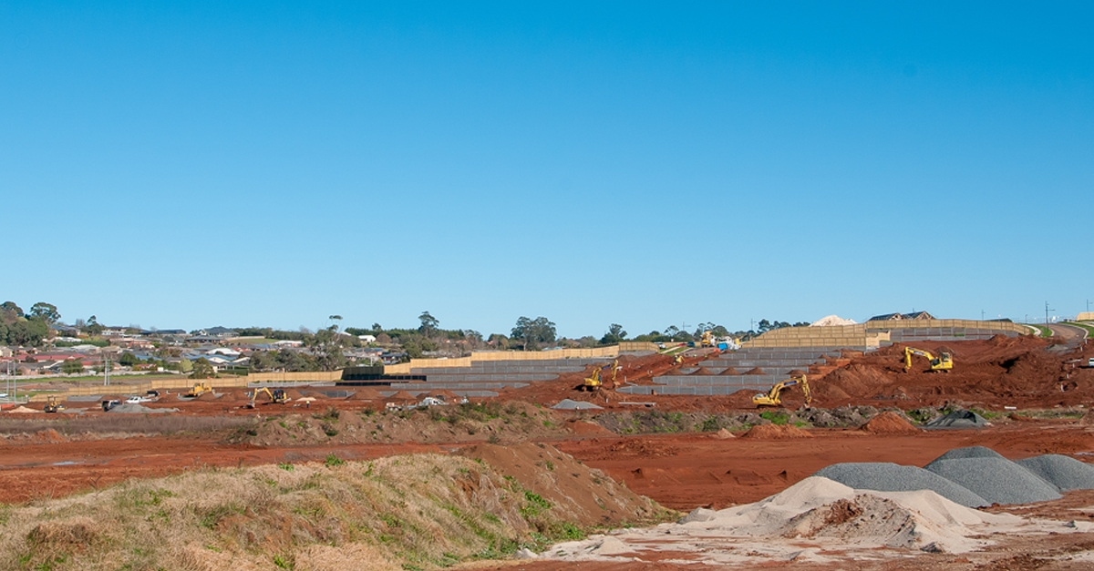 Photo of a residential development building site, Warragul