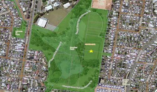 Overhead map of Brooker Park.
