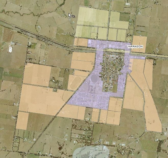 Illustrative map using Yarragon township as an example. Outer zones highlighted in green and brown to indicate buffer regions subject to inspection. Inner zones are highlighted purple to indicate homes which may be subject to radiant heat from bushfires.